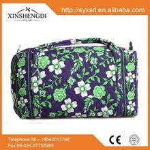 Hot sale fabric beach women small quilted cotton cosmetic travel bag