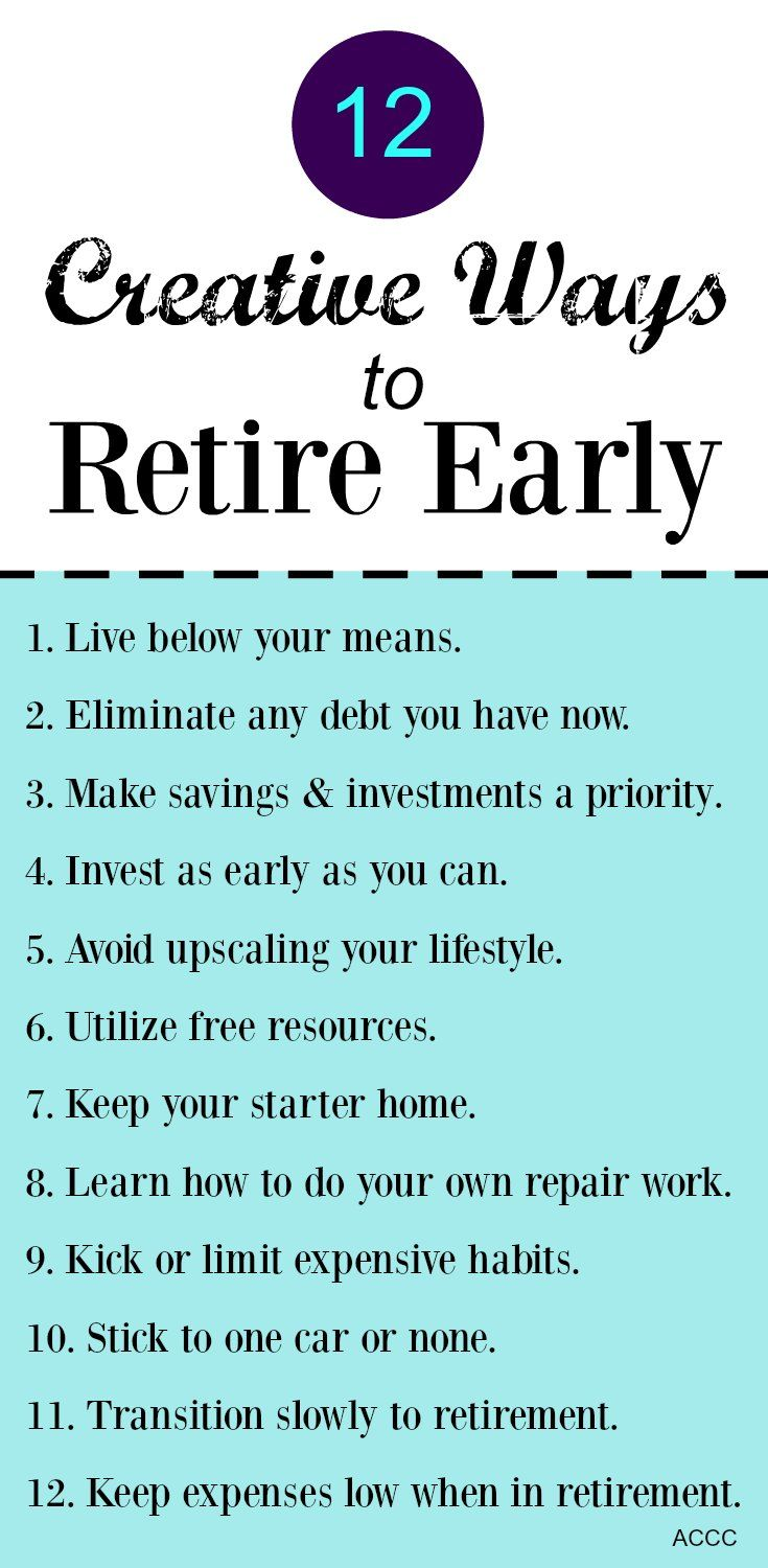 Follow these 12 tips so that you can retire early from the Talking Cents blog.