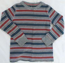 Jumping Beans Boys Grey Navy Blue Red Striped Cotton Long Sleeved Shirt M 5/6