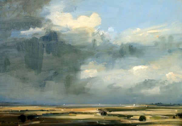 Rainclouds, Walton-on-the-Naze, Oil on Board - Zarina Stewart-Clark, Landscape Artist