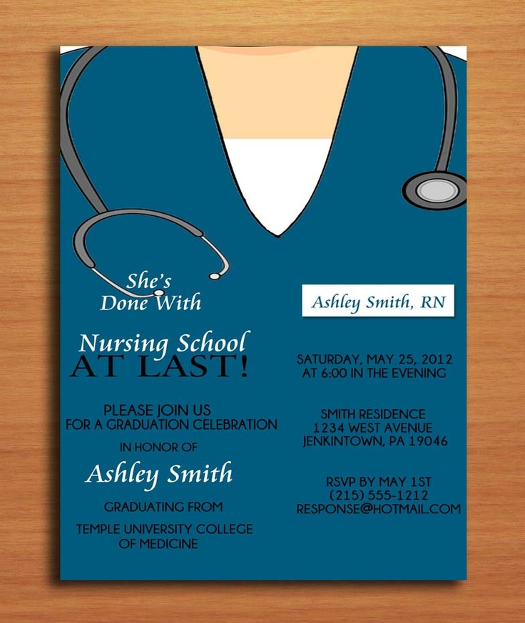 Scrub Top Nursing / Medical Degree Graduation Party Invitation ...