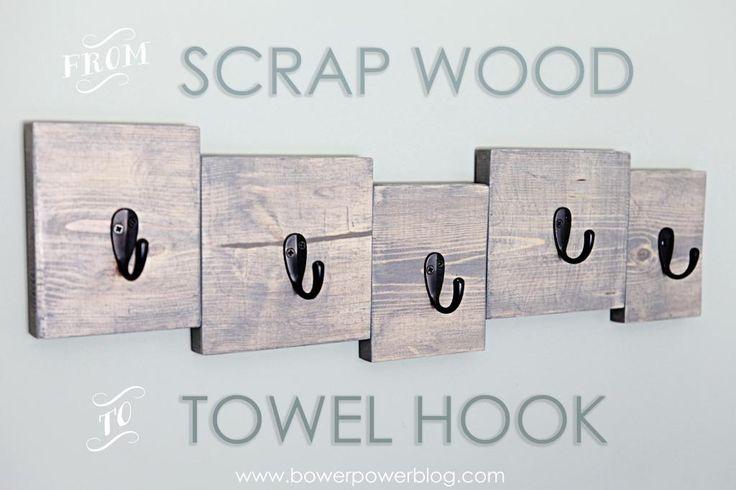 Scrap Wood Towel Hook - Hooked by www.bowerpowerblog.com
