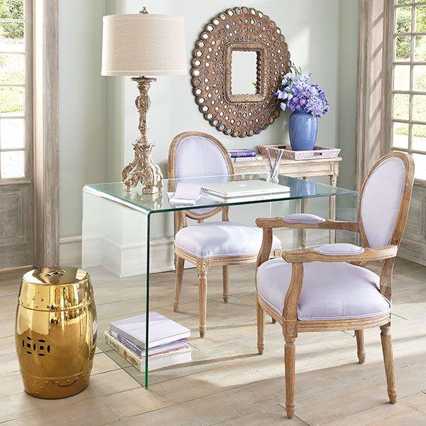 Glass Desk/lavender chairs