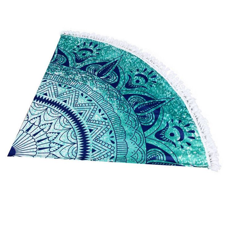 Our Beautiful Round Cyan Mandala Beach Throws are handmade and feature a Cyan Mandala design. It is super versatile and can be used at the beach, by the pool, for yoga and even as a wall hanging or on