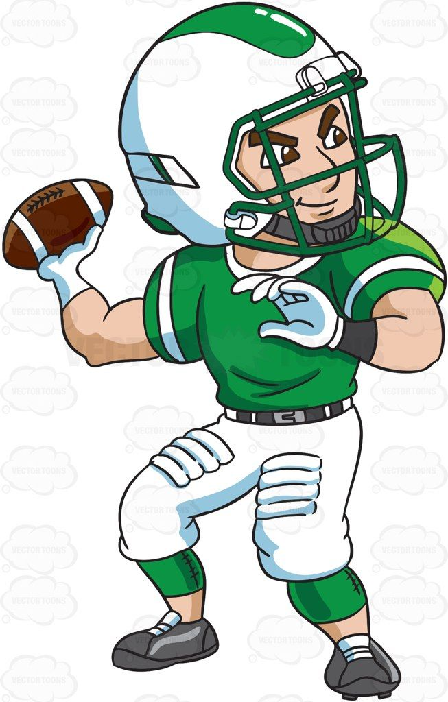 A Football Quarterback Passing A Ball Cartoon Clipart