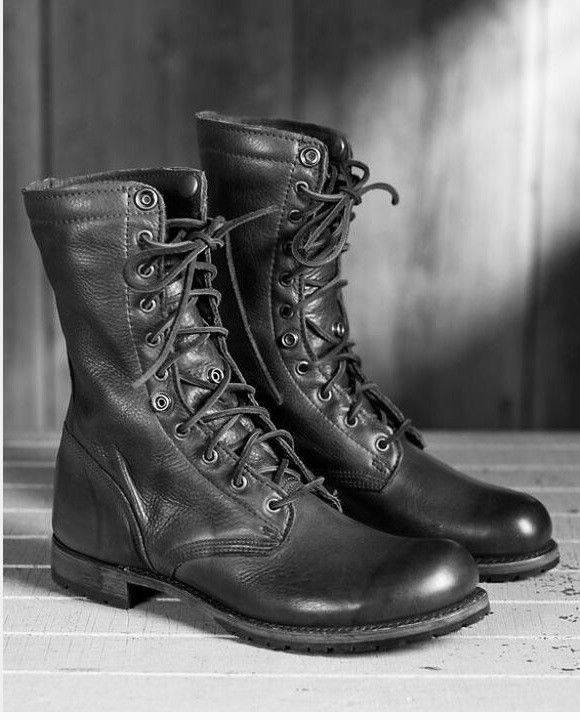 Men Black Combat boots, Military style