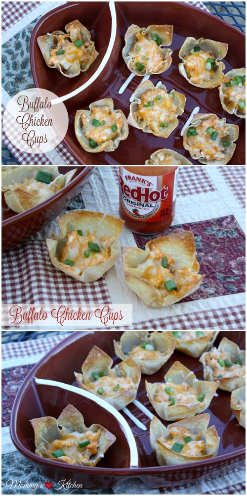 These easy bite size Buffalo Chicken Cups will be the hit of your next game day party. These easy bite size appetizers start with baked crispy won ton cups that are filled with a buffalo chicken filling, and topped with shredded cheese and green onions.