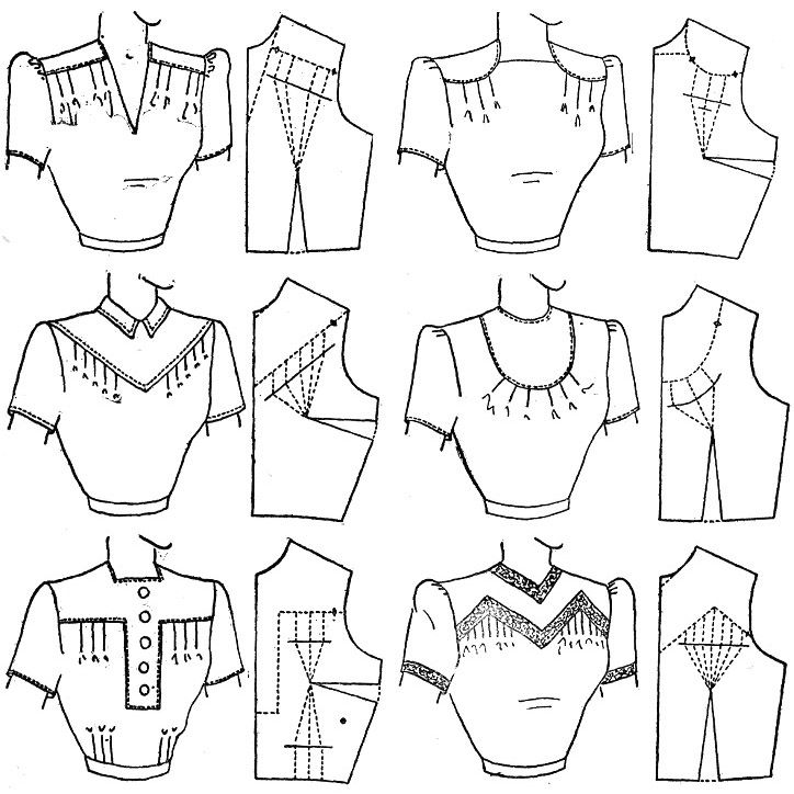 Practice Problems in Yoke Design  -can't get to original page.    Lots of stuff here: http://web.archive.org/web/20060620122828/http://vintagesewing.info/1940s/42-mpd/mpd-toc-short.html