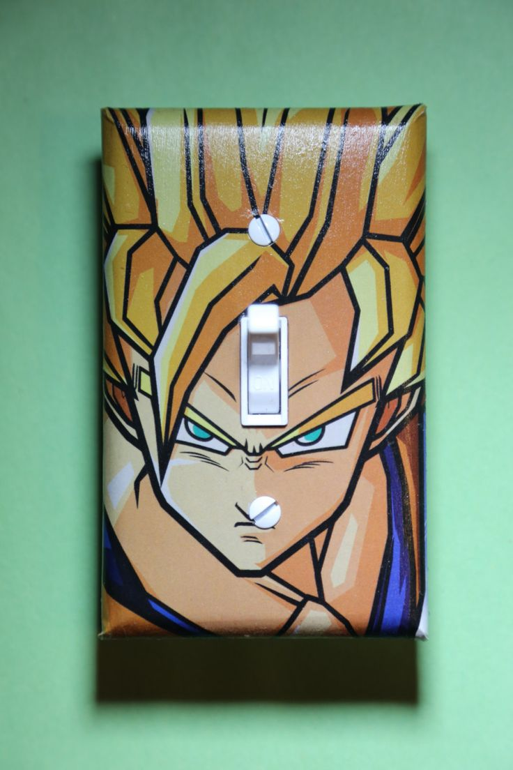 Dragon Ball Z Light Switch Plate Cover gamer room home decor comic book gaming Nintendo Wii U Anime Dragonball by ComicRecycled on Etsy