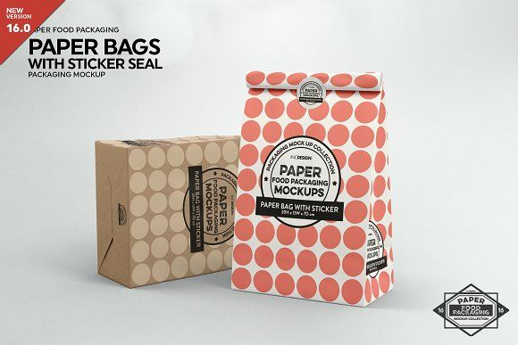 Download Paper Bags With Sticker Seal Mockup Packaging Mockup Food Packaging Food Box Packaging