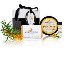 Gift Box -  Small - Option 1 Three of our most popular products - our signature Sea Buckthorn Body Cream (220ml), Beauty Soap (5 oz), and Spearmint Lip Balm (0.15oz) - beautifully packaged in a black gift box with ribbon. Perfect for gift giving! - $38.99