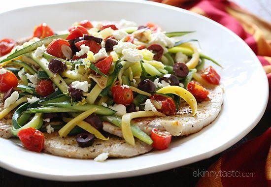 Mediterranean Boneless Pork Chops   Skinnytaste, I would just get rid of the olives ;)