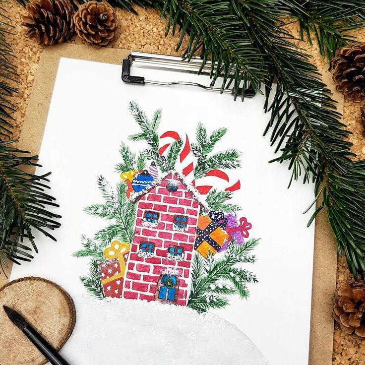 A watercolor Christmas house illustration  At no time of the year is it as cozy at home as during the Holiday season