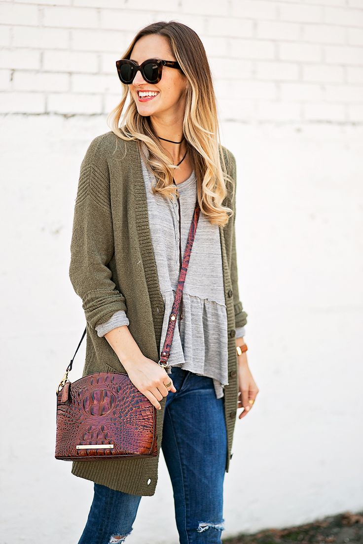 Peplum Thermal Tee, Olive Cardigan & Ankle Booties - LivvyLand | Austin Fashion and Style Blogger