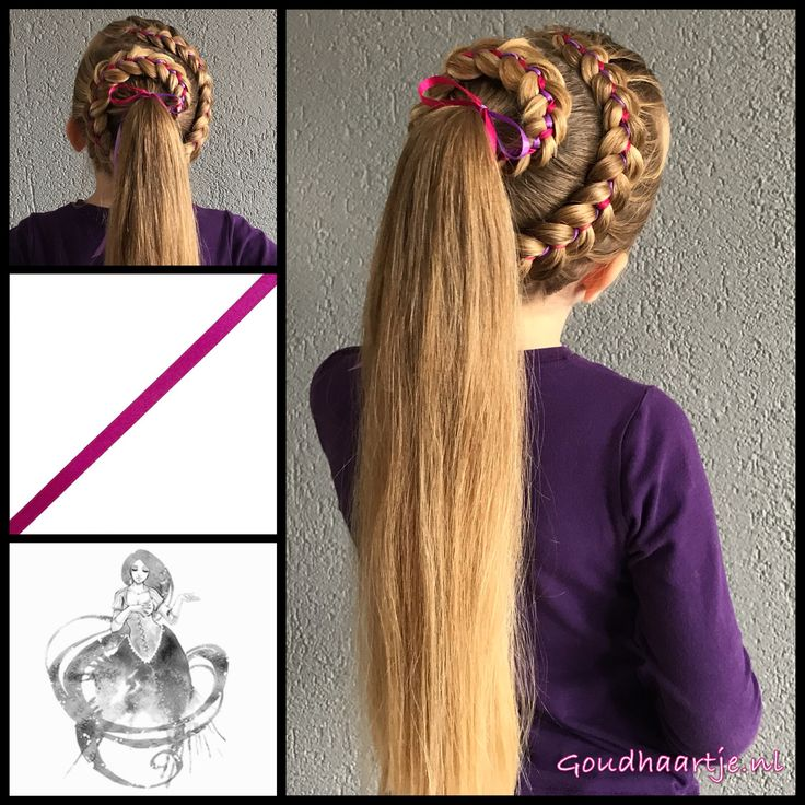 Five strand ribbonbraid into a ponytail with ribbons from the webshop www.goudhaartje.nl (worldwide shipping).   Hairstyle inspired by: @flower.braids (instagram)   #hair #hairstyle #braid #braids #plait #trenza #peinando #beautifulhair #longhair #blonde #gorgeoushair #stunninghair #hairaccessories #hairinspo #braidideas #hairstylesforgirls #amazinghair #hairfeed #hairpost #ponytail  #goudhaartje