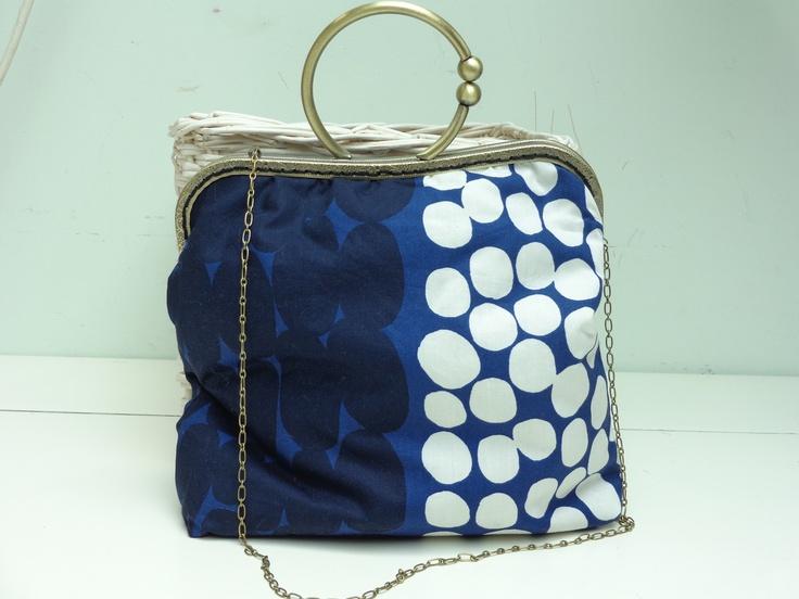 Bolsa De Tecido Com Fecho : Bolsa em tecido azul com bolinhas brancas e azuis fecho