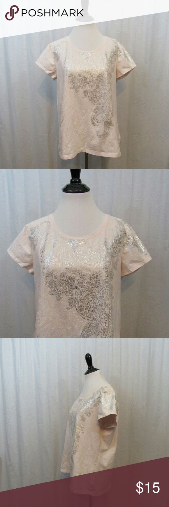 """Zenergy Chico's Pink Silver Short Sleeve Top 2 L Brand: Zenergy by Chico's Size: 2 Material: 95% Cotton 5% Spandex Care Instructions: Machine Wash  Bust: 40"""" Sleeves: 5"""" Length: 23""""  All clothes are in excellent used condition. No tears, stains or holes unless otherwise I noted.   P23 Chico's Tops Tees - Short Sleeve"""