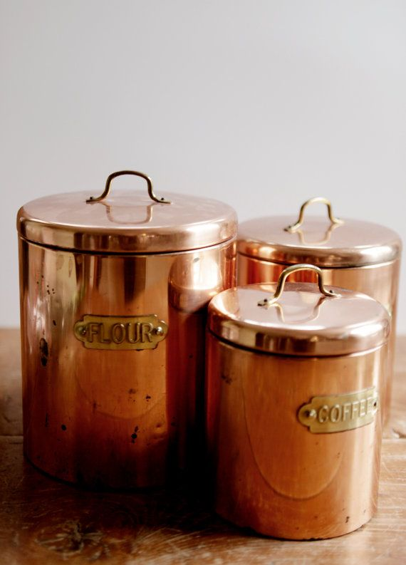 Amazing set of 3 copper plated kitchen canisters, complete with flour, sugar…