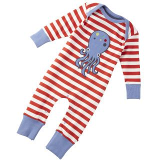 This lovely red and white stripe red suit. This has a octopus applique design.   This playsuit is quality soft material which is great softness next to your baby's skin.   This suit is 100% organic.   Brand: Piccalilly