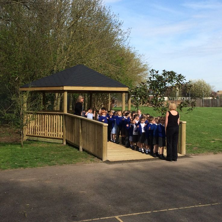 """""""Line up and face the front!"""" familiar words we all remember the teacher desperately trying to organise us shouting at school. Pupils at St Nicholas Primary School lined up well on our timber playground shelter that we installed with a ramp for inclusive access!"""