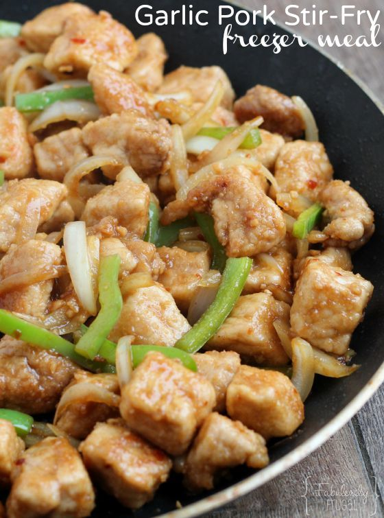 Looking for a new favorite?! This Freezer Meal Recipe is just the one! Put this Garlic Pork Stir-Fry recipe on the menu for this week!