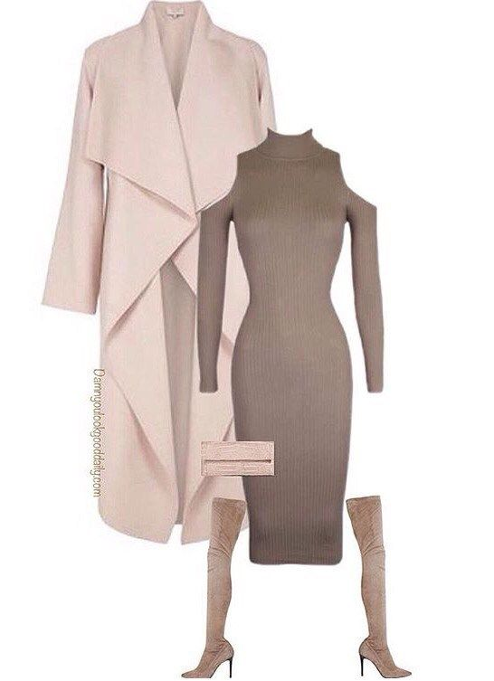 What to Wear To a Fall Wedding Outfit Ideas as a guest, Long Nude Coat, cold shoulder sweater dress, thigh high boots, YSL Clutch, Winter, Spring, Cold, Wedding Attire, Kim Kardashian style, Kendall Jenner Style, Classy, Trendy, Sexy