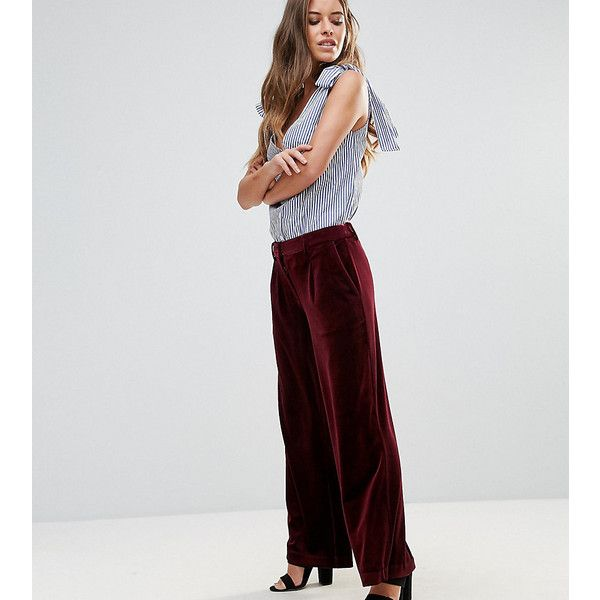 Vero Moda Petite Wide Leg Velvet Pants ($52) ❤ liked on Polyvore featuring pants, petite, purple, high waisted pants, high-waisted pants, high waisted velvet pants, purple pants and high waisted wide leg pants