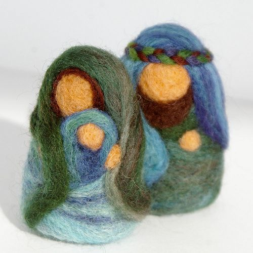 "Needlefelted miniature Holy Family (approx. 2"" high)"