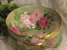 Gorgeous Drop Dead PINK and BURGUNDY Roses Antique Limoges France Hand Painted Punch Bowl Turn-of-the-Century French Victorian Masterpiece Treasure Raised Gold Tressemann & Vogt T circa 1900