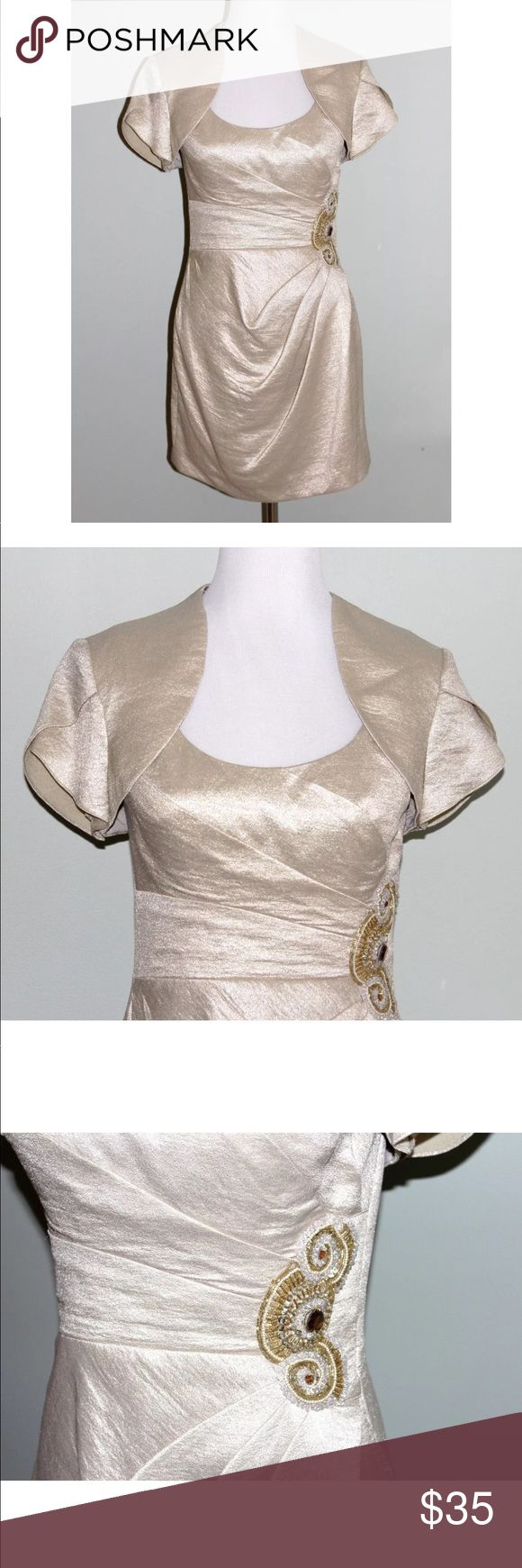 """Adrianna Papell Occasion Dress Size 8 Gold 2 Pc ADRIANNA PAPELL OCCASIONS Dress with Removable Jacket Excellent Pre-Owned Condition Size 8 (34"""" Length, 36"""" Bust, 30"""" Waist, 38"""" Hips) Gold Shimmer Metallic with Beaded Embellishment at Waist Rear Zipper, Fully Lined, Gorgeous! Adrianna Papell Dresses Wedding"""
