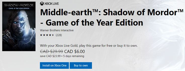 [Microsoft Store]Middle-earth: Shadow of Mordor GOTY - Free to Play or $6.00 to own (Xbox Live Gold Only) http://www.lavahotdeals.com/ca/cheap/microsoft-storemiddle-earth-shadow-mordor-goty-free-play/220444?utm_source=pinterest&utm_medium=rss&utm_campaign=at_lavahotdeals