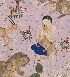 A Persian tale: the love story of Layla and Majnun. Majnun surrounded by wild yet benign animals grouped in pairs