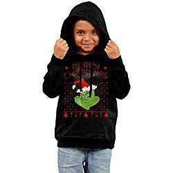 JULIN HOODY Unisex Toddler Hooded Sweatshirt The Grinch Dr Seuss Ugly Christmas Hoodie Black