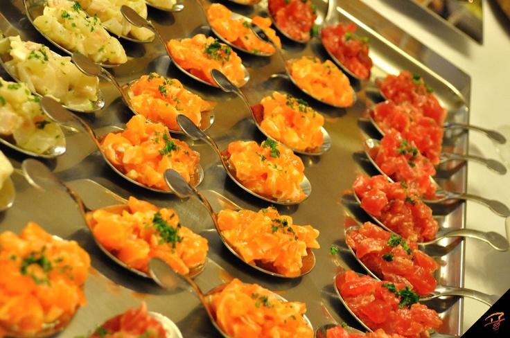 tartare di branzino, salmone e tonno freschi