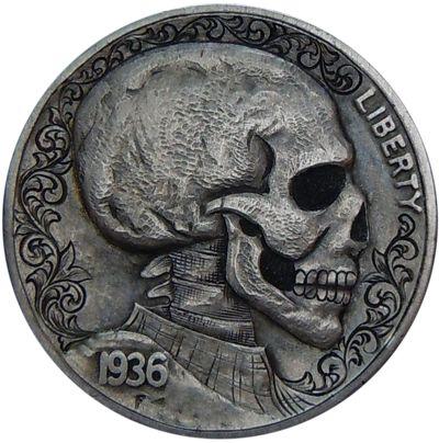 Skull Hobo Nickels - Skullspiration.com - skull designs, art, fashion and more