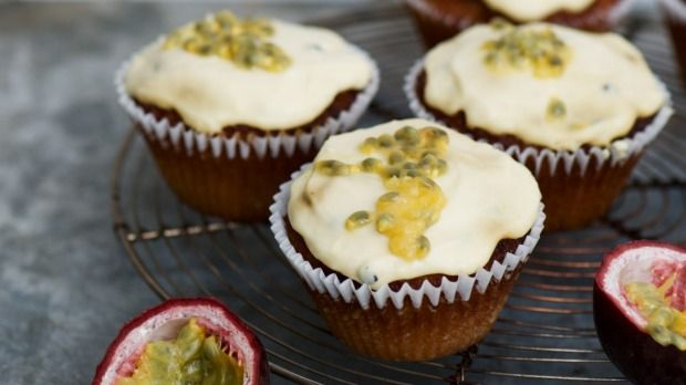 Indulge your sweet tooth with one of Nadia Lim's gluten-free coconut and passionfruit cupcakes.
