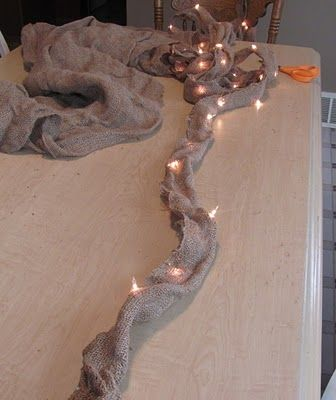 string lights in burlap...