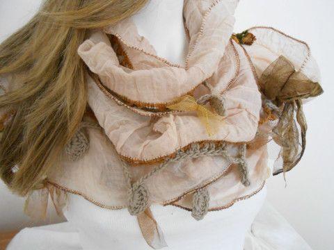 Krem renkli eşarp, krem renkli, dantel eşarp, kadın aksesuarları, kadın moda, etnik pamuklu kumaş, el dokuması kumaşlar, toz