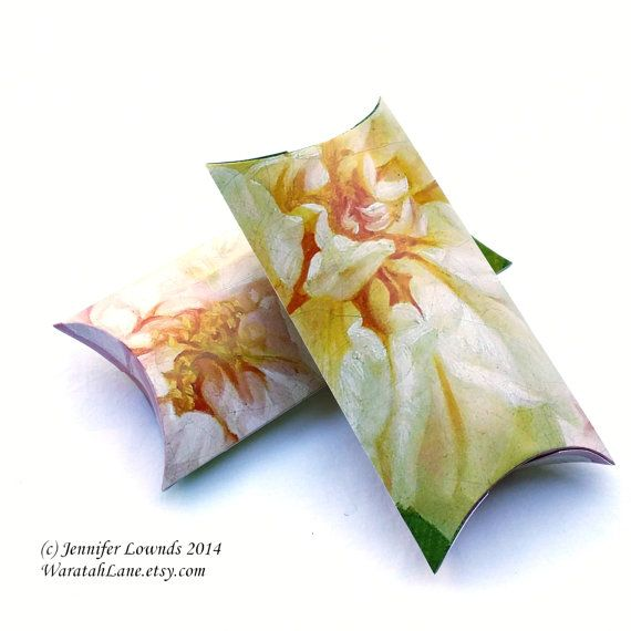 Sorbet Roses Pillow Box INSTANT DOWNLOAD printable by WaratahLane Shabby Pretty roses for wedding bonbonniere favour boxes Gift boxes bridal favors floral flowers yellow cream white very chic packaging idea floral style flowers
