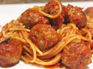 Sausage meatballs and pasta. The tomato sauce is very easy to make too ...