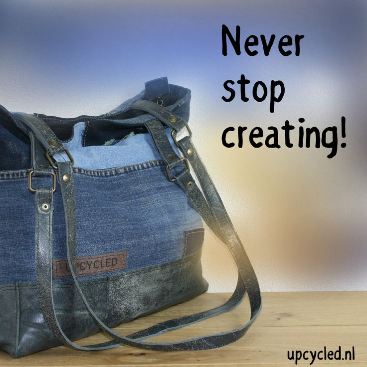 Upcycled jeans and upcycled leather, now a new bag!