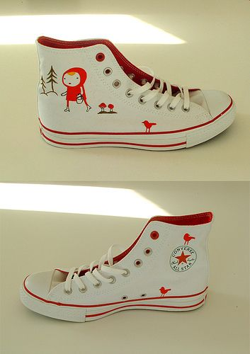 Decorate your shoes with images inspired by a favorite fairy tale, like these Little Red Riding Hood sneaks by designer Camilla Engman.