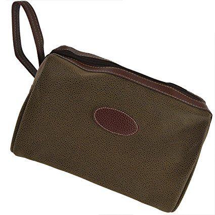 Classica da uomo in finta pelle scamosciata borsa Necessaire da Viaggio con Maniglia da Danielle; Berkely collezione articoli da toeletta