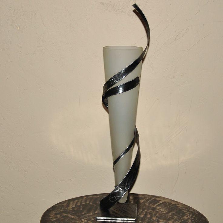 vase ou photophore avec son support en fer forgé : Accessoires de maison par blandin