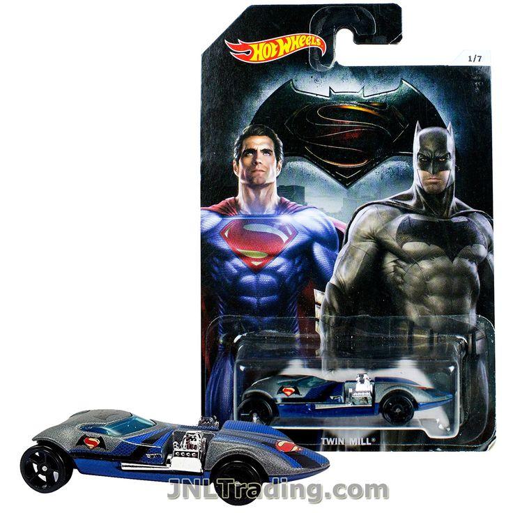 Hot Wheels Year 2015 Batman vs Superman Dawn of Justice Series 1:64 Scale Die Cast Car Set 1/7 - BATMAN SUPERMAN TWIN MILL DJL48