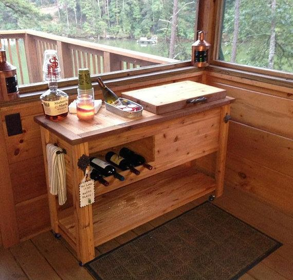 Outdoor Rustic Wooden Cooler Bar - Buffet - Sideboard - Serving Table - Storage Cabinet - Bar Cart -Mini Fridge Cabinet by RusticWoodWorx