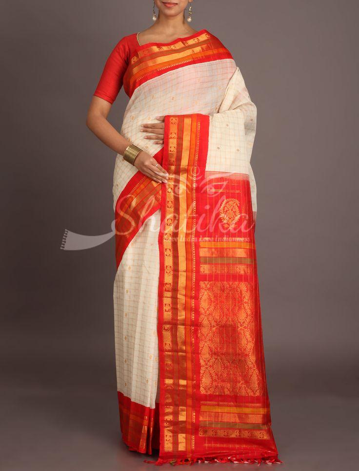 Sarada Pristine White Self-Checks With Chilli Red Ornate Border Pallu Gadwal Silk Cotton Saree