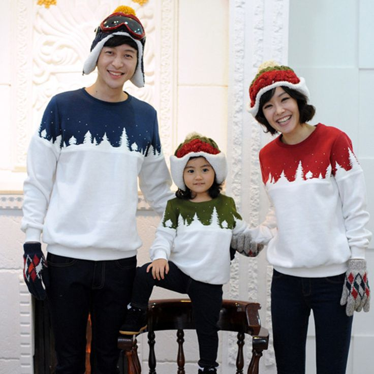 Family Matching Christmas Sweaters Baby Boys Girls Mother Daughter Dad Sweater Korean Style Family Matching Outfits Clothing