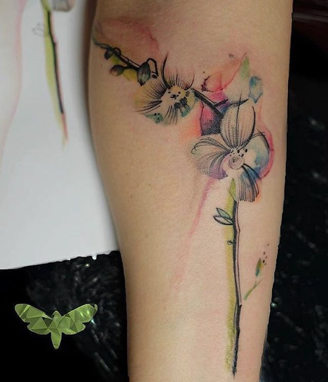 Image result for red orange orchid tattoo