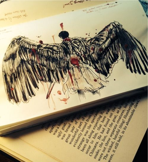 castiel fan art - i wish i could draw wings like this. #supernatural #spn